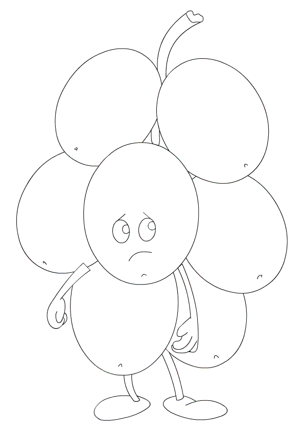 Grapes Coloring Page for Kids