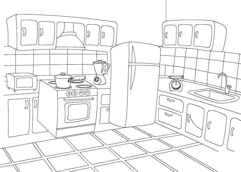 Color Kitchen Free Coloring Pages for Preschooler and Kindergartener