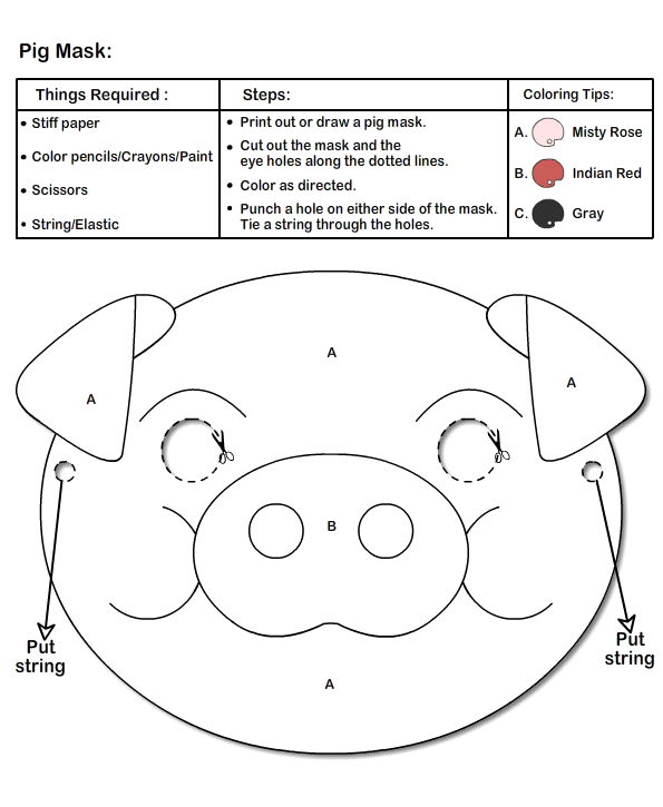 Search results for printable pig mask template for Pig puppet template