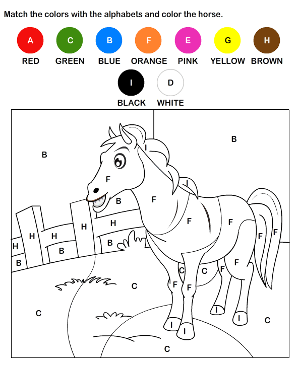 color by letter worksheet 10 - Colour Worksheet For Kids