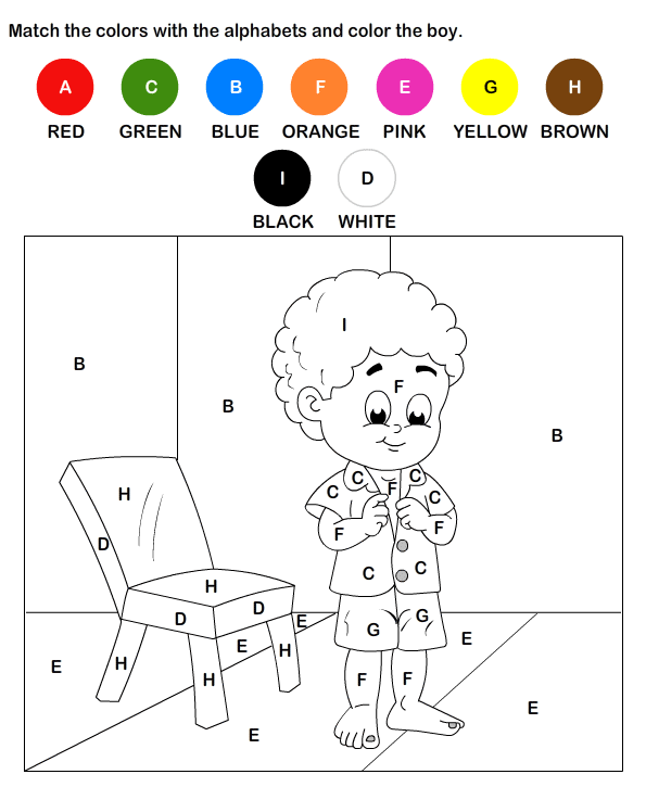 color by letter worksheet 4 - Kids Activities Print