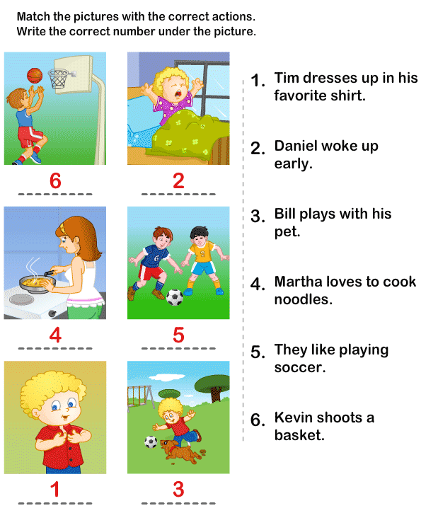 Match Actions13 on Kindergarten Worksheets Fillin