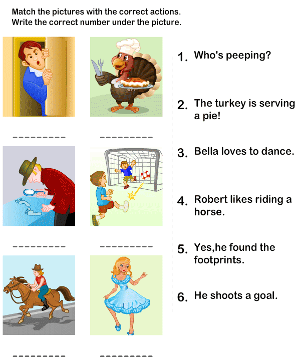 Connect Sentences With The Picture | Kindergarten Picture Worksheet