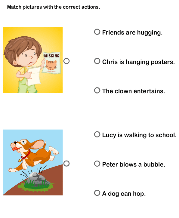 Pictures Worksheets | Match Sentences Worksheets