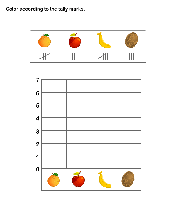 Printable Math Practice Sheet For Kids Tally Chart