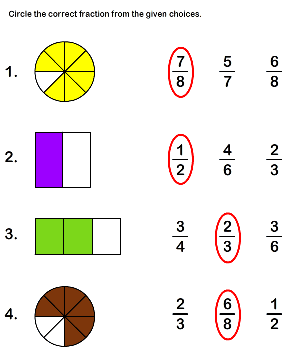 Free Printable Fraction Worksheets for Grade1 | Math Worksheets for ...