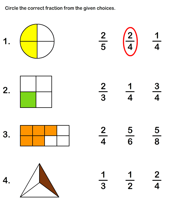 math worksheets fractions – Worksheets on Fractions