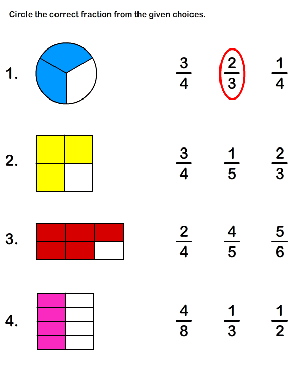 Fractions worksheets grade 3