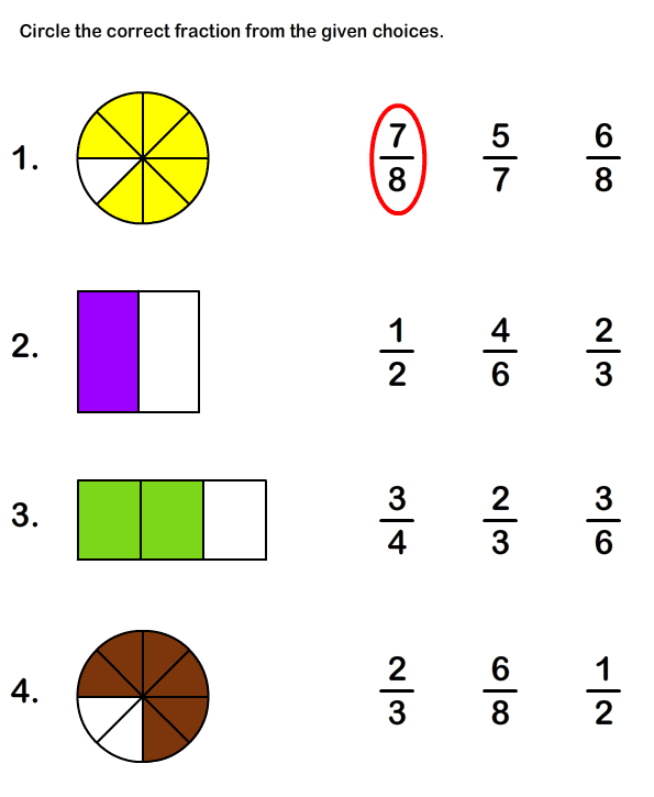 Free Printable Fraction Worksheets For Grade1 Math Worksheets For Kids