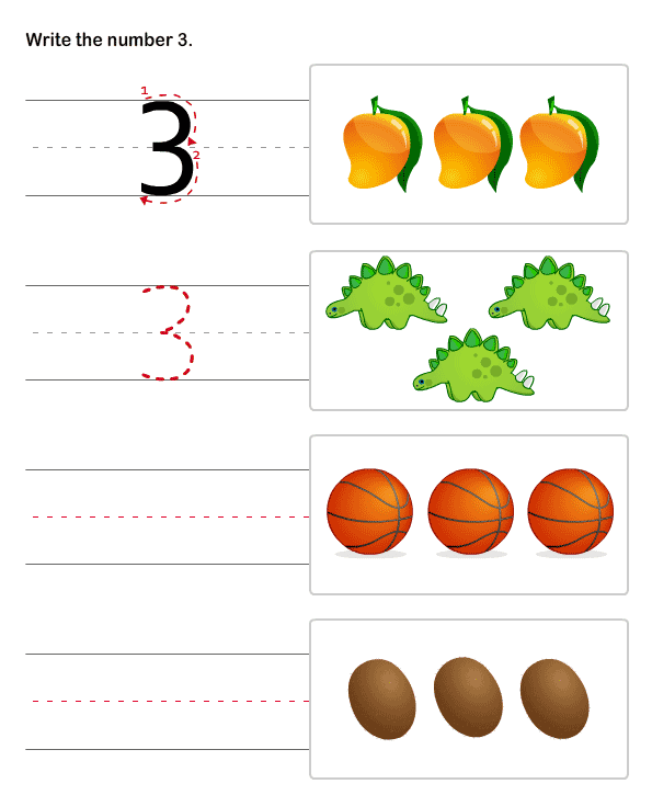 Numbers Worksheets for Preschool and Kindergarten – Number 3 Worksheets