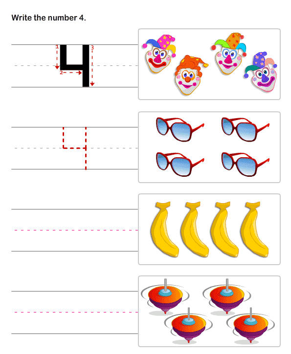 Preschool Number Worksheets PreMath worksheets – Number 4 Worksheets