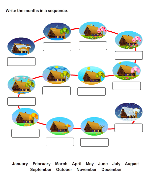 Twelve Months Worksheets For Kids | Free Printable Worksheets For Kids
