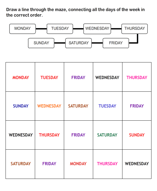 Free Printable Worksheets for Kids | Days of the Week Worksheets