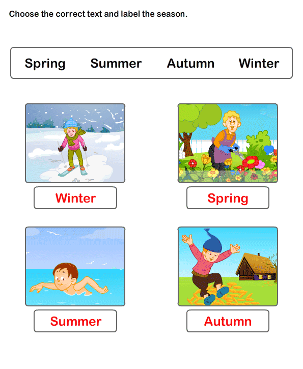 Free Worksheets On Seasons