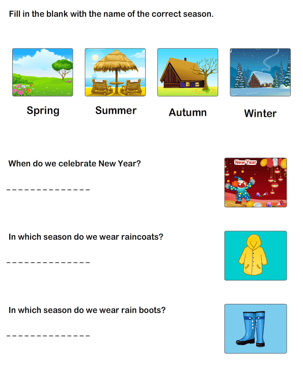 Worksheet To Learn Seasons | Learning Worksheets For Kindergarten