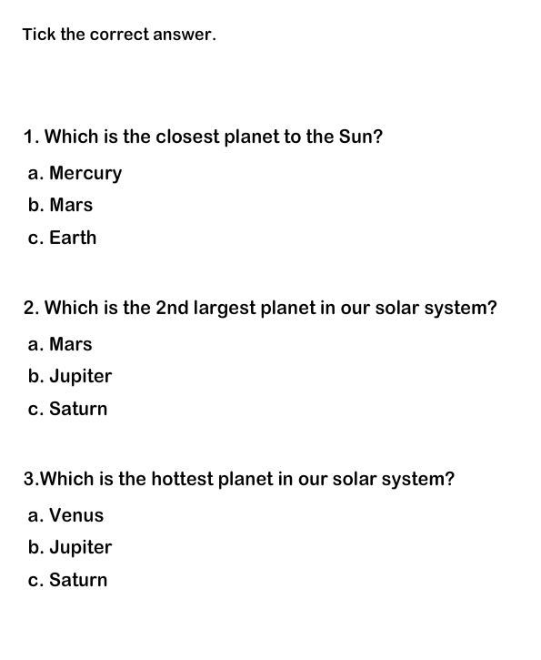 Solar System Worksheet 1 | Solar System for Kids