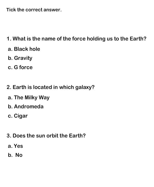 Solar System Worksheet 4 Solar System Quiz