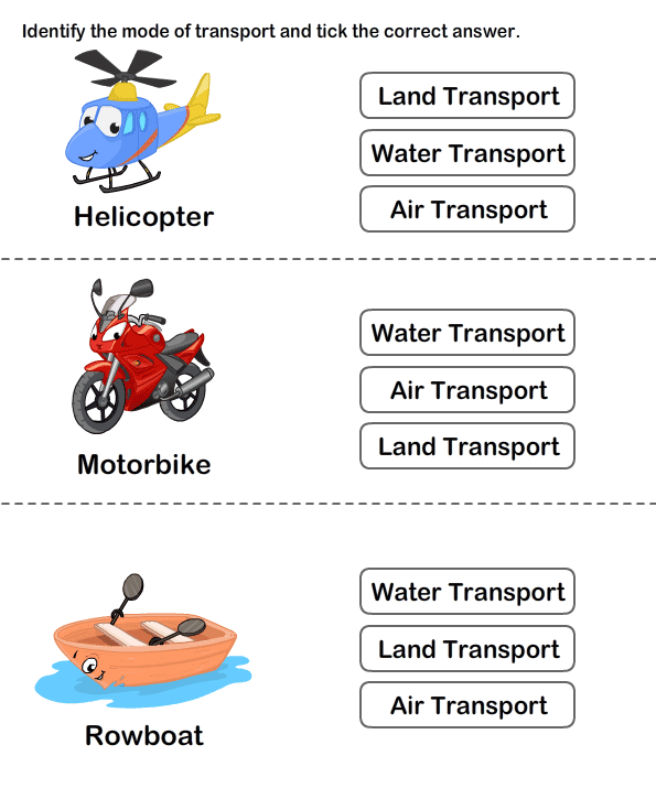 Transports Worksheets for Kids | Means Of Transport Worksheet